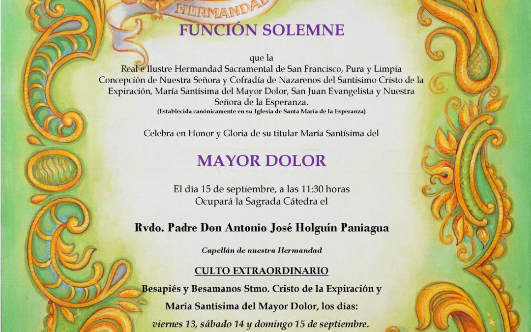 CONVOCATORIA FUNCIÓN SOLEMNE MARÍA STMA. DEL MAYOR DOLOR 2019