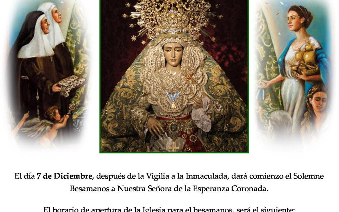 HORARIOS BESAMANOS A NTRA. SRA. DE LA ESPERANZA CORONADA 2019